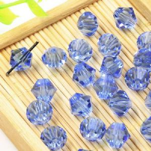 Beads, Auralescent Crystal, Crystal, Blue , Faceted Bicones, Diameter 8mm, 5 Beads, [ZZB064]